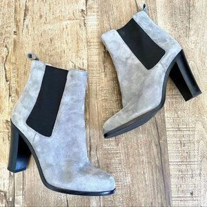 Sergio Rossi Suede Stretch-Gore Booties Grey 38